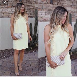 CeCe Yellow Scalloped Dress